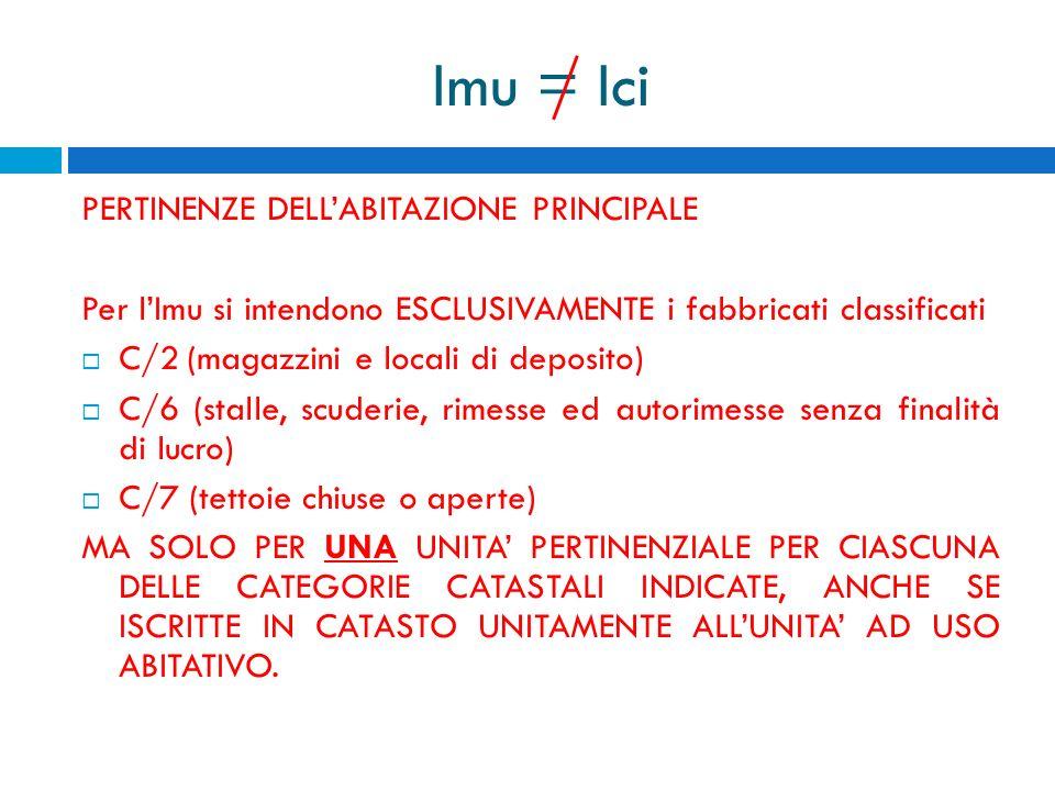 Imu = Ici PERTINENZE DELLABITAZIONE PRINCIPALE Per lImu si intendono ESCLUSIVAMENTE i fabbricati classificati C/2(magazzini e locali di deposito) C/6