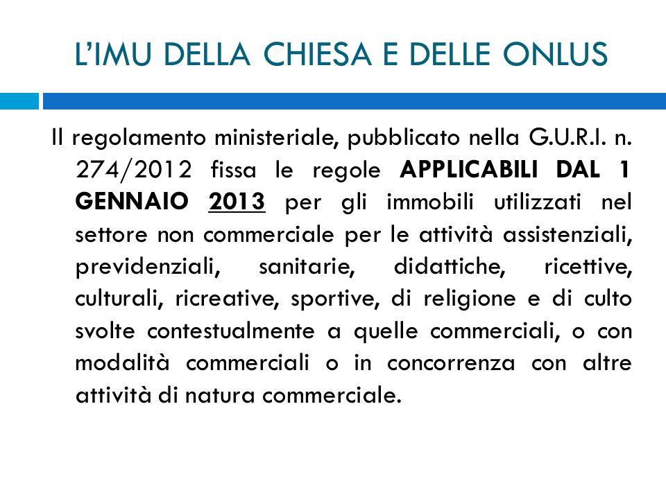 LIMU DELLA CHIESA E DELLE ONLUS Il regolamento ministeriale, pubblicato nella G.U.R.I. n. 274/2012 fissa le regole APPLICABILI DAL 1 GENNAIO 2013 per