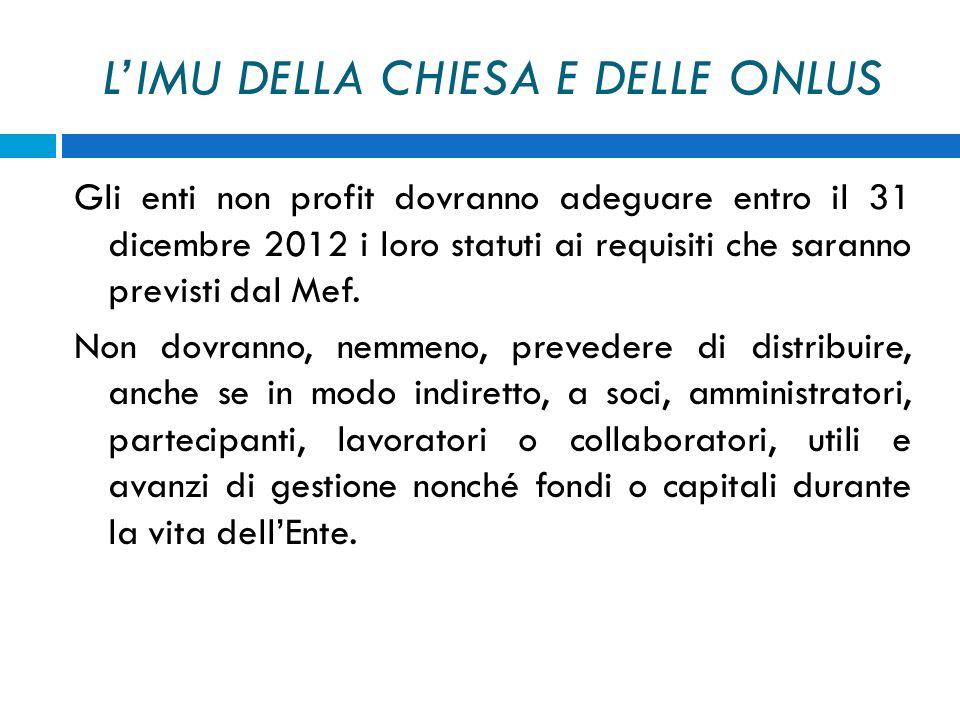 LIMU DELLA CHIESA E DELLE ONLUS Gli enti non profit dovranno adeguare entro il 31 dicembre 2012 i loro statuti ai requisiti che saranno previsti dal M