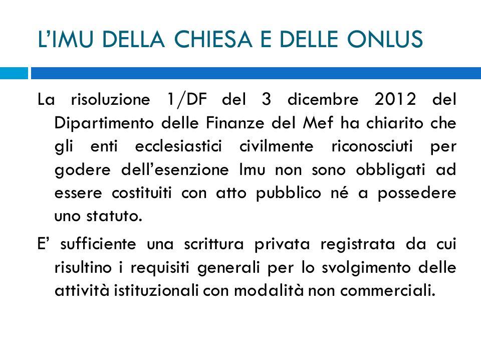LIMU DELLA CHIESA E DELLE ONLUS La risoluzione 1/DF del 3 dicembre 2012 del Dipartimento delle Finanze del Mef ha chiarito che gli enti ecclesiastici