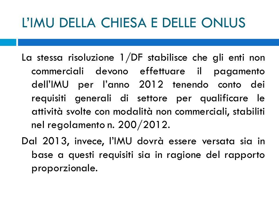 LIMU DELLA CHIESA E DELLE ONLUS La stessa risoluzione 1/DF stabilisce che gli enti non commerciali devono effettuare il pagamento dellIMU per lanno 20