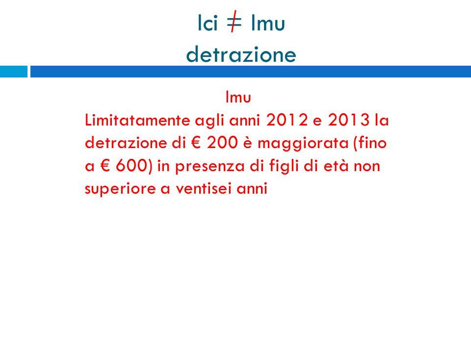 Ici = Imu detrazione Imu Limitatamente agli anni 2012 e 2013 la detrazione di 200 è maggiorata (fino a 600) in presenza di figli di età non superiore