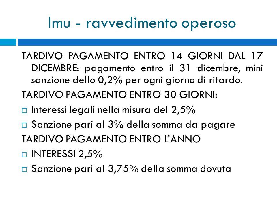 Imu - ravvedimento operoso TARDIVO PAGAMENTO ENTRO 14 GIORNI DAL 17 DICEMBRE: pagamento entro il 31 dicembre, mini sanzione dello 0,2% per ogni giorno