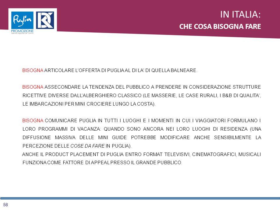 58 IN ITALIA: CHE COSA BISOGNA FARE BISOGNA ARTICOLARE LOFFERTA DI PUGLIA AL DI LA DI QUELLA BALNEARE. BISOGNA ASSECONDARE LA TENDENZA DEL PUBBLICO A