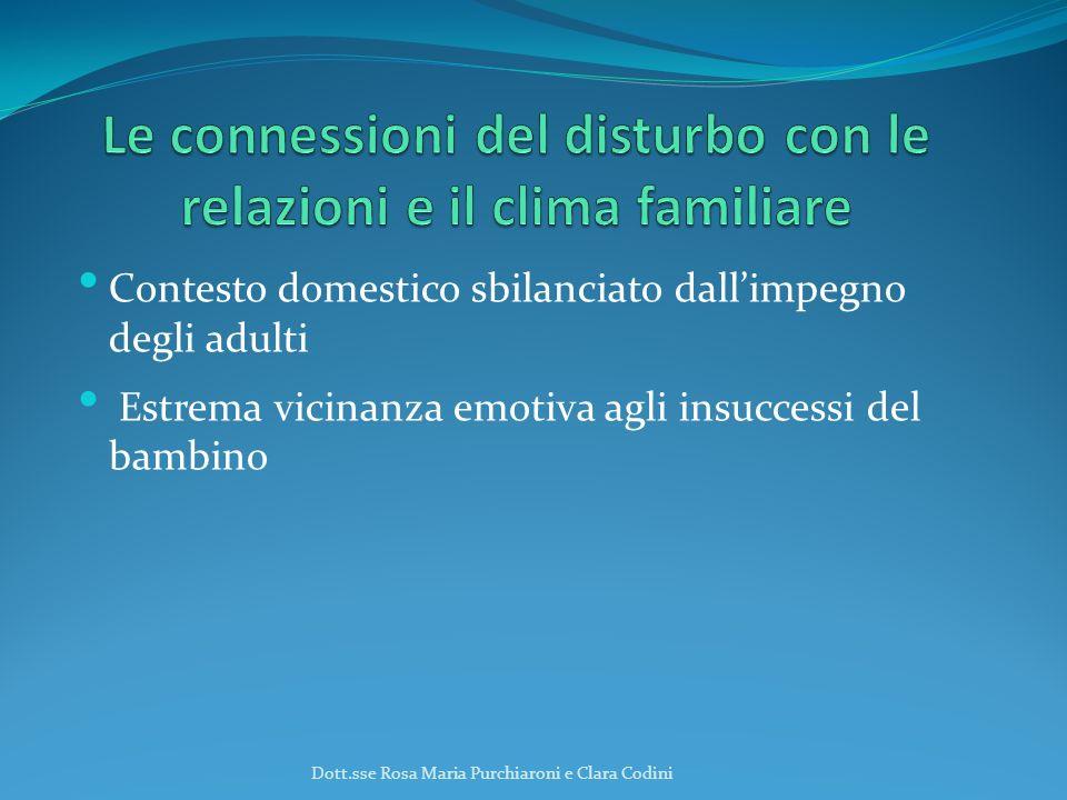 Contesto domestico sbilanciato dallimpegno degli adulti Estrema vicinanza emotiva agli insuccessi del bambino Dott.sse Rosa Maria Purchiaroni e Clara