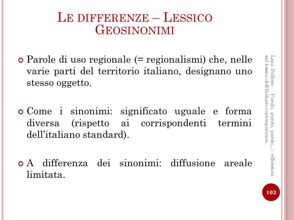 G EOSINONIMI - E SEMPI Il caffè espresso Panettiere / prestinaio / fornaio / fornaro Alloggio / appartamento / quartiere / quarto Anguria / cocomero / melone (dacqua) Lavello / acquaio / lavabo / lavapiatti lavandino Sberla / schiaffo / ceffone / sganassone Attaccapanni / gruccia / croce / appendino, stampella 104 Luca Bellone – Parole, parole, parole…: riflessioni sul lessico dellItaliano contemporaneo.