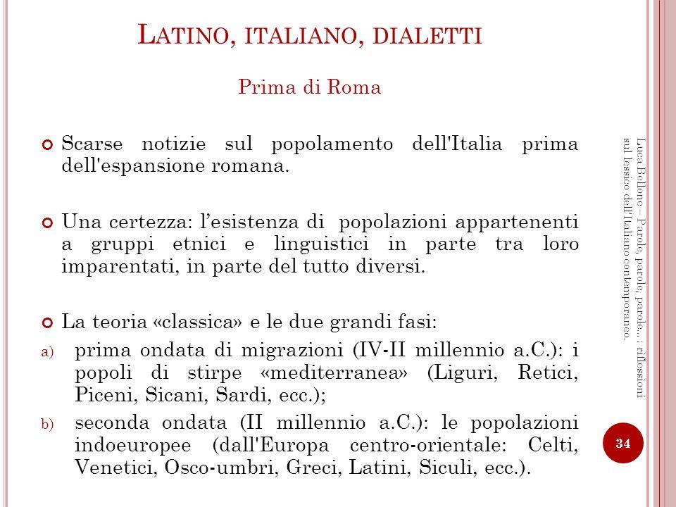 L E POPOLAZIONI DELL I TALIA ATTORNO AL 500 A.C.