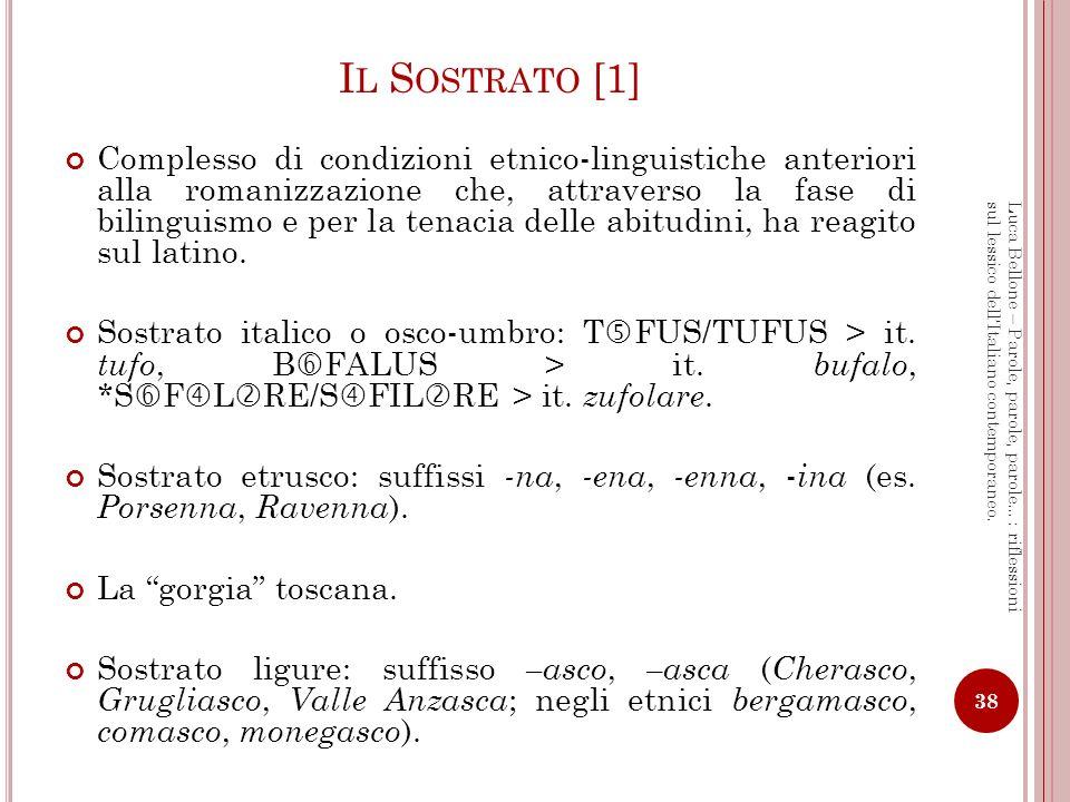 I L S OSTRATO [2] Sostrato celtico (soprattutto in Francia) Fonetica: - a tonica > è, es.: PATREM > père.