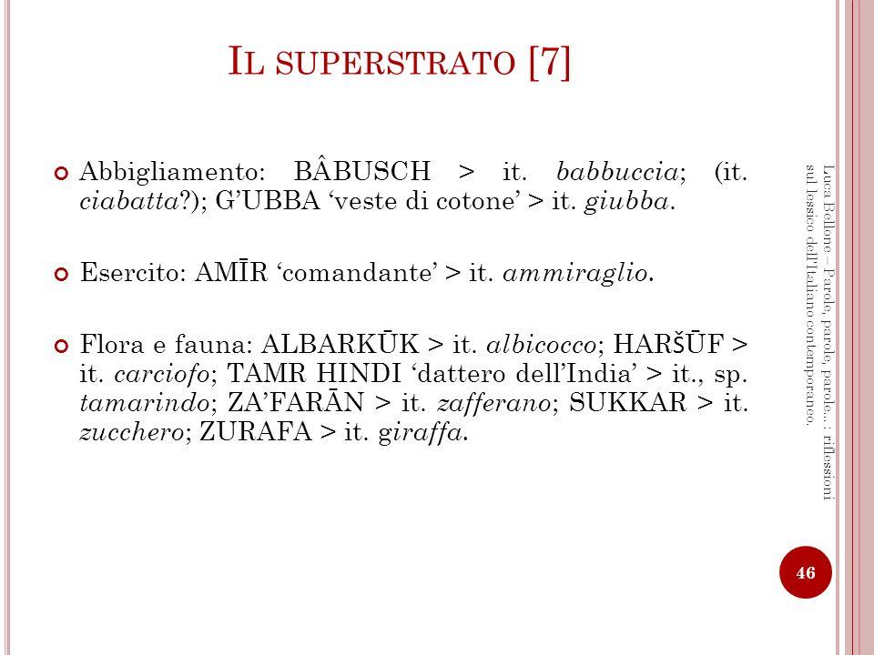 I L SUPERSTRATO [8] Toponomastica Sp.Alcalá < QALA castello, fortezza (it.