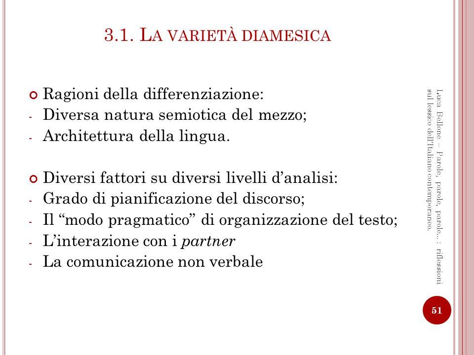 L E DIFFERENZE TRA SCRITTO E PARLATO Tre ambiti diversi: 1.