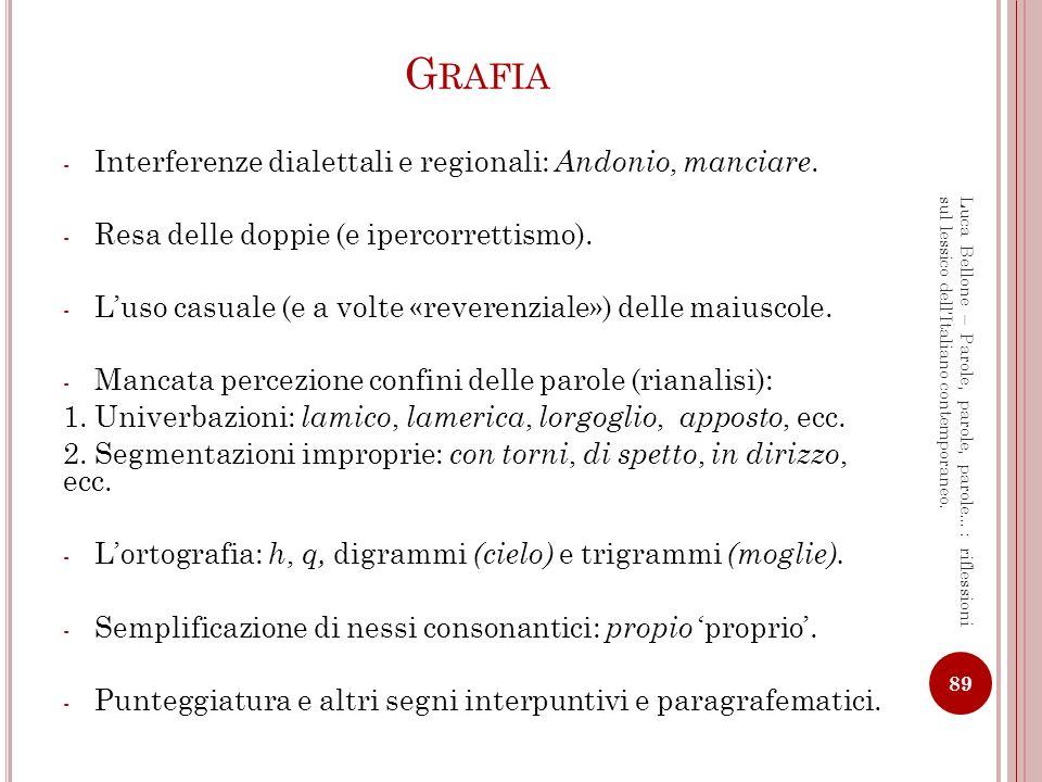 F ONETICA Fenomeni marcatamente regionali: It.popolare = it.