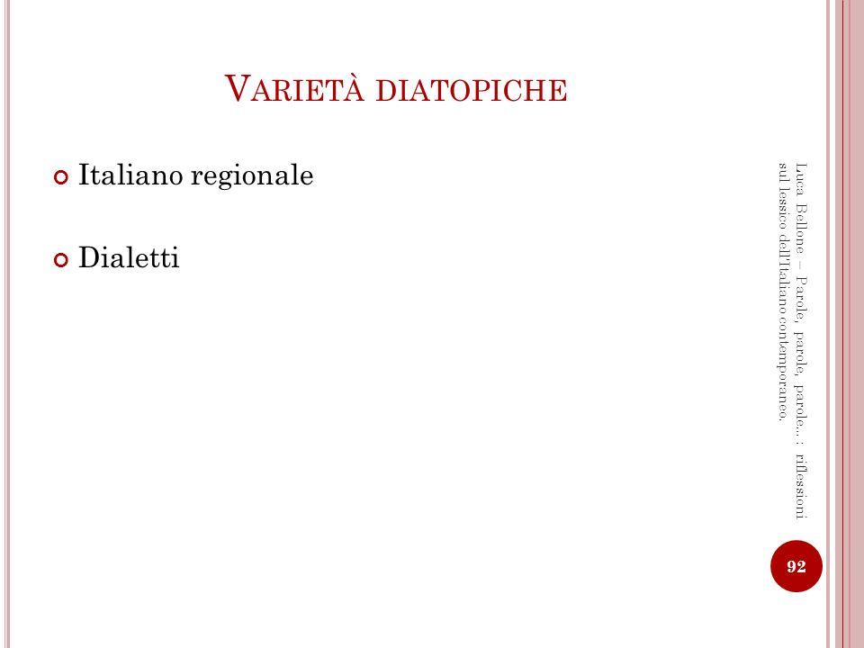 LI TALIANO REGIONALE : UN INTRODUZIONE Storia e caratteristiche della lingua italiana uniche in Europa Alcuni paralleli con la lingua tedesca: 1.