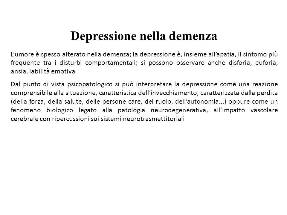 Depressione nella demenza Lumore è spesso alterato nella demenza; la depressione è, insieme allapatia, il sintomo più frequente tra i disturbi comport