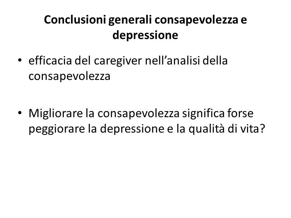 Conclusioni generali consapevolezza e depressione efficacia del caregiver nellanalisi della consapevolezza Migliorare la consapevolezza significa fors