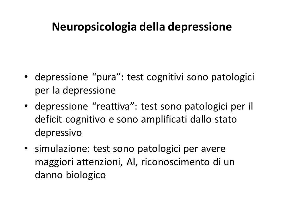 Neuropsicologia della depressione depressione pura: test cognitivi sono patologici per la depressione depressione reattiva: test sono patologici per i