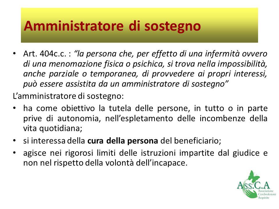 Amministratore di sostegno Art. 404c.c. : la persona che, per effetto di una infermità ovvero di una menomazione fisica o psichica, si trova nella imp