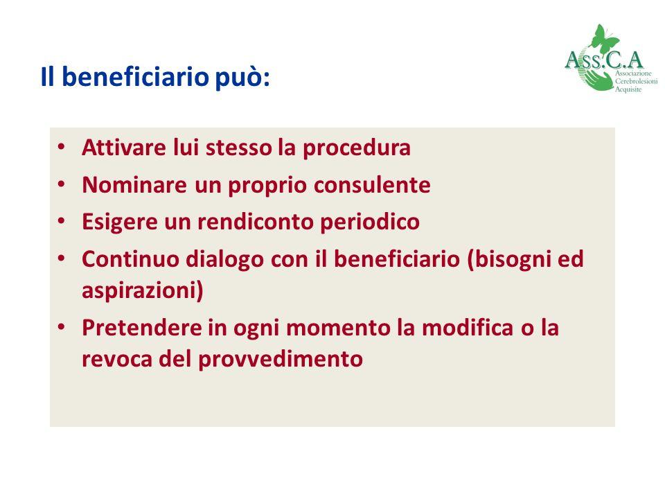 Il beneficiario può: Attivare lui stesso la procedura Nominare un proprio consulente Esigere un rendiconto periodico Continuo dialogo con il beneficia