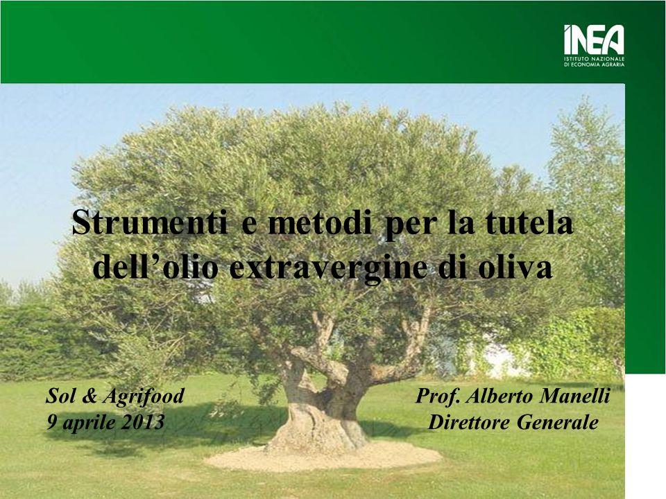 Strumenti e metodi per la tutela dellolio extravergine di oliva Prof. Alberto Manelli Direttore Generale Sol & Agrifood 9 aprile 2013