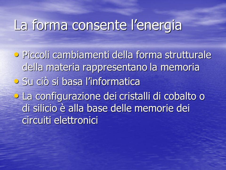 La forma consente lenergia Piccoli cambiamenti della forma strutturale della materia rappresentano la memoria Piccoli cambiamenti della forma struttur