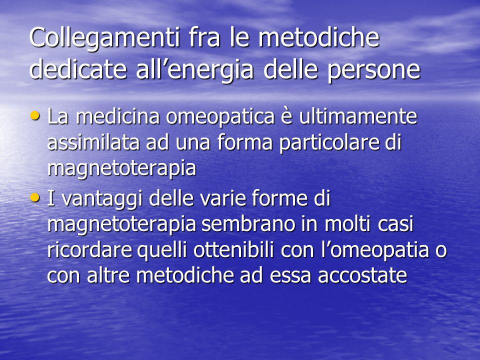 Collegamenti fra le metodiche dedicate allenergia delle persone La medicina omeopatica è ultimamente assimilata ad una forma particolare di magnetoter