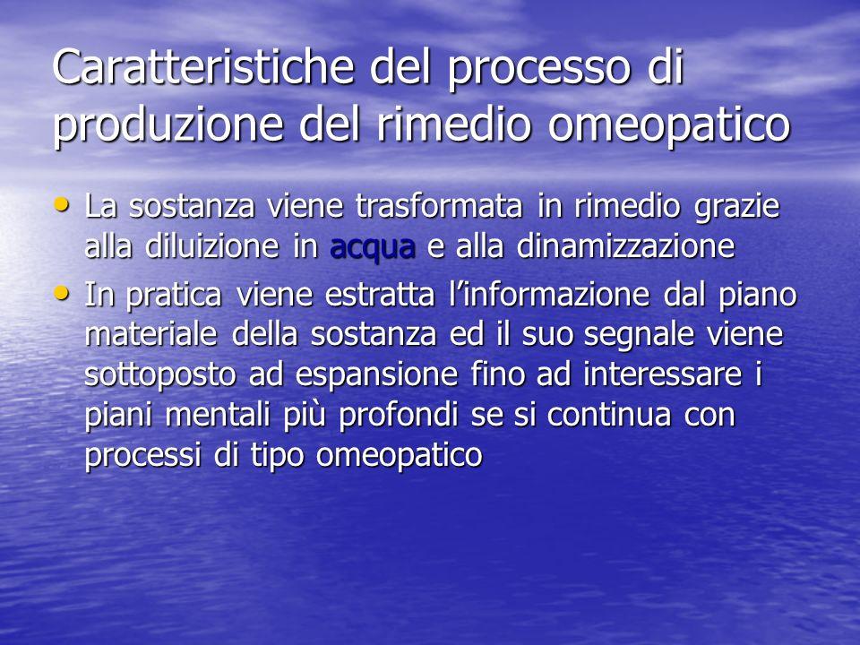 Caratteristiche del processo di produzione del rimedio omeopatico La sostanza viene trasformata in rimedio grazie alla diluizione in acqua e alla dina