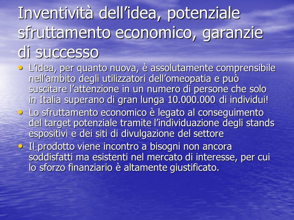 Inventività dellidea, potenziale sfruttamento economico, garanzie di successo Lidea, per quanto nuova, è assolutamente comprensibile nellambito degli