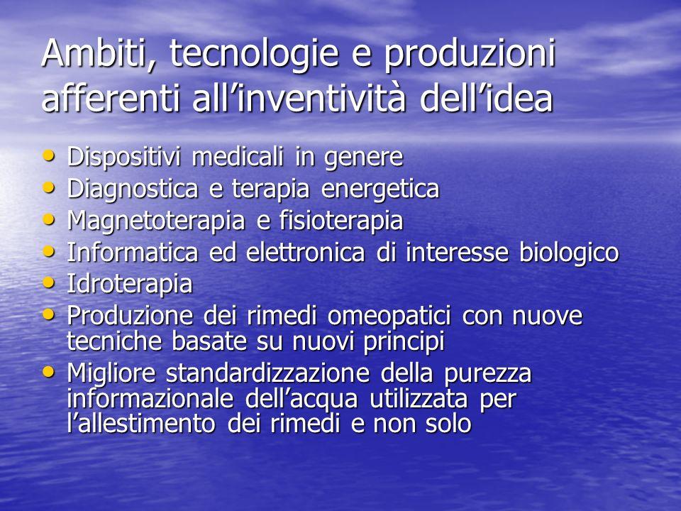 Ambiti, tecnologie e produzioni afferenti allinventività dellidea Dispositivi medicali in genere Dispositivi medicali in genere Diagnostica e terapia