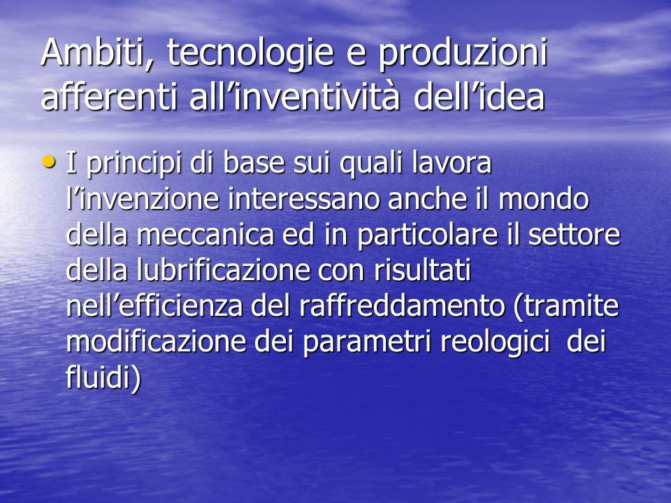 Ambiti, tecnologie e produzioni afferenti allinventività dellidea I principi di base sui quali lavora linvenzione interessano anche il mondo della mec