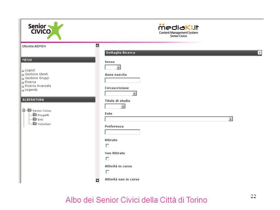 22 Albo dei Senior Civici della Città di Torino