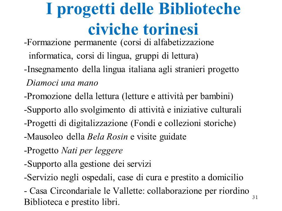 I progetti delle Biblioteche civiche torinesi -Formazione permanente (corsi di alfabetizzazione informatica, corsi di lingua, gruppi di lettura) -Inse
