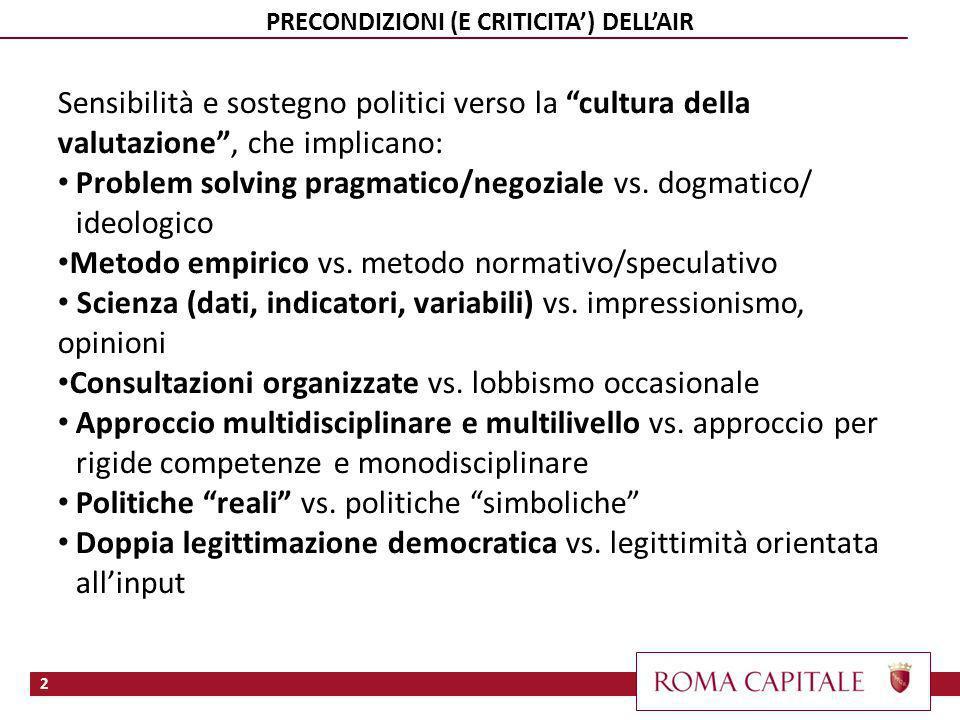 2 PRECONDIZIONI (E CRITICITA) DELLAIR Sensibilità e sostegno politici verso la cultura della valutazione, che implicano: Problem solving pragmatico/negoziale vs.