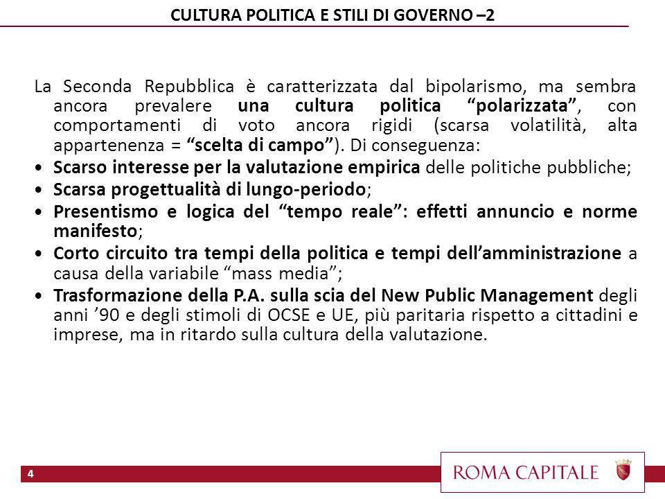 4 CULTURA POLITICA E STILI DI GOVERNO –2 La Seconda Repubblica è caratterizzata dal bipolarismo, ma sembra ancora prevalere una cultura politica polarizzata, con comportamenti di voto ancora rigidi (scarsa volatilità, alta appartenenza = scelta di campo).