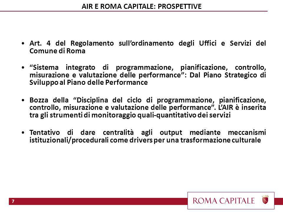 7 AIR E ROMA CAPITALE: PROSPETTIVE Art. 4 del Regolamento sullordinamento degli Uffici e Servizi del Comune di Roma Sistema integrato di programmazion