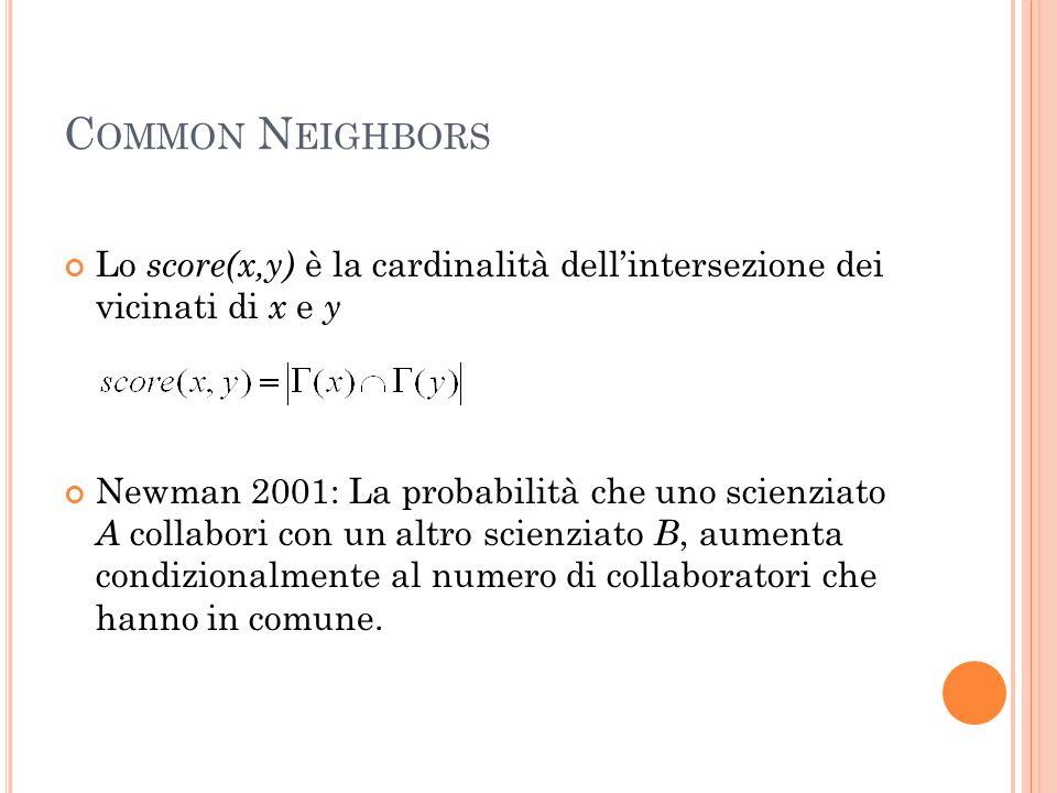 C OMMON N EIGHBORS Lo score(x,y) è la cardinalità dellintersezione dei vicinati di x e y Newman 2001: La probabilità che uno scienziato A collabori con un altro scienziato B, aumenta condizionalmente al numero di collaboratori che hanno in comune.