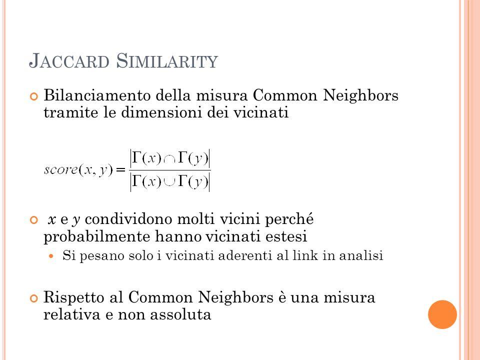 J ACCARD S IMILARITY Bilanciamento della misura Common Neighbors tramite le dimensioni dei vicinati x e y condividono molti vicini perché probabilmente hanno vicinati estesi Si pesano solo i vicinati aderenti al link in analisi Rispetto al Common Neighbors è una misura relativa e non assoluta