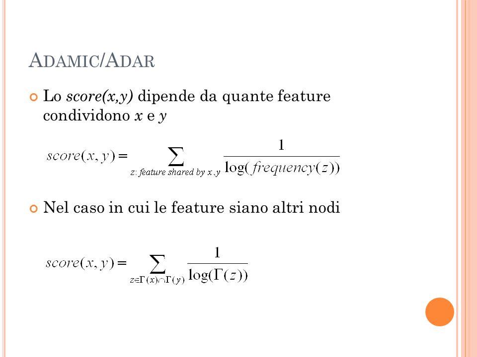 A DAMIC /A DAR Lo score(x,y) dipende da quante feature condividono x e y Nel caso in cui le feature siano altri nodi