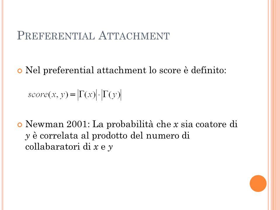 P REFERENTIAL A TTACHMENT Nel preferential attachment lo score è definito: Newman 2001: La probabilità che x sia coatore di y è correlata al prodotto del numero di collabaratori di x e y