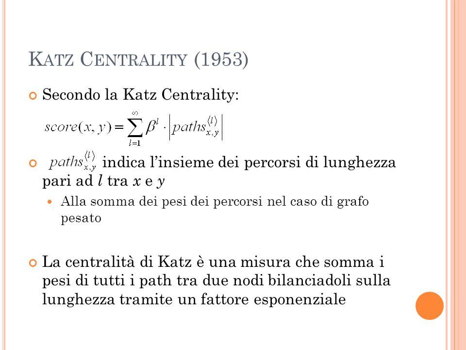 K ATZ C ENTRALITY (1953) Secondo la Katz Centrality: indica linsieme dei percorsi di lunghezza pari ad l tra x e y Alla somma dei pesi dei percorsi nel caso di grafo pesato La centralità di Katz è una misura che somma i pesi di tutti i path tra due nodi bilanciadoli sulla lunghezza tramite un fattore esponenziale