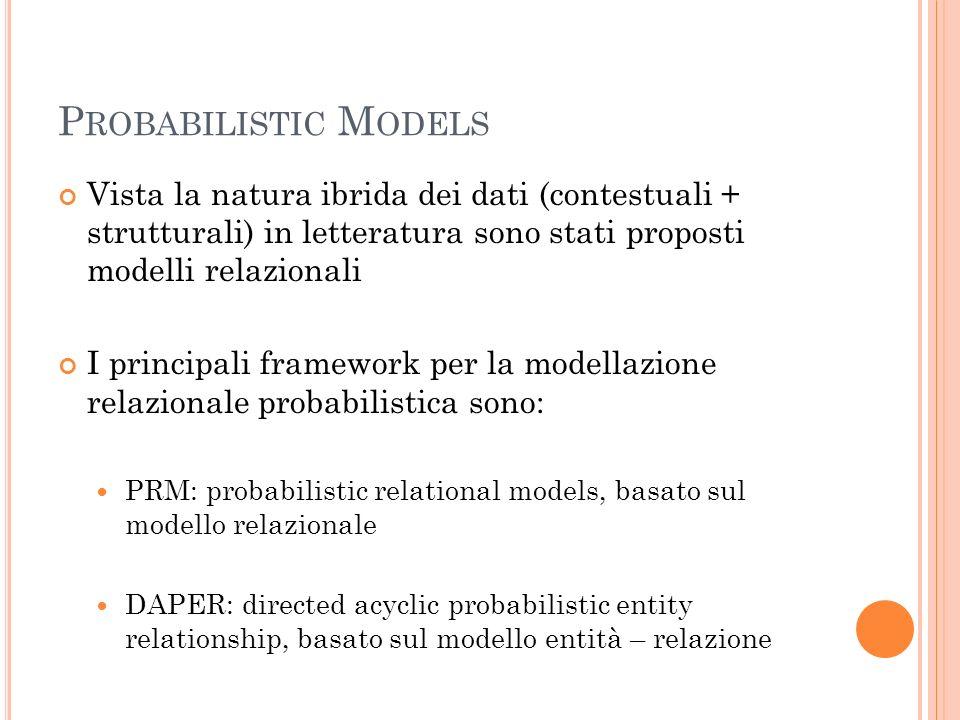 P ROBABILISTIC M ODELS Vista la natura ibrida dei dati (contestuali + strutturali) in letteratura sono stati proposti modelli relazionali I principali framework per la modellazione relazionale probabilistica sono: PRM: probabilistic relational models, basato sul modello relazionale DAPER: directed acyclic probabilistic entity relationship, basato sul modello entità – relazione