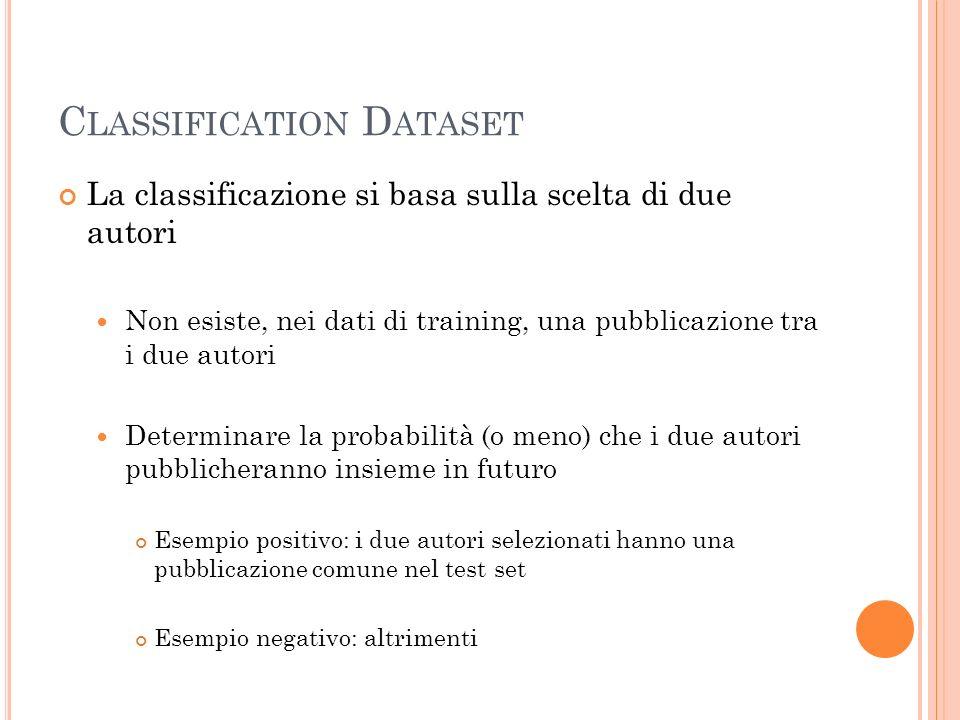 C LASSIFICATION D ATASET La classificazione si basa sulla scelta di due autori Non esiste, nei dati di training, una pubblicazione tra i due autori Determinare la probabilità (o meno) che i due autori pubblicheranno insieme in futuro Esempio positivo: i due autori selezionati hanno una pubblicazione comune nel test set Esempio negativo: altrimenti