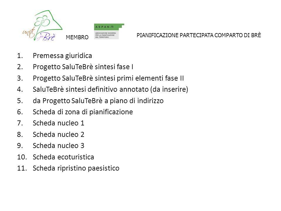 1.Premessa giuridica 2.Progetto SaluTeBrè sintesi fase I 3.Progetto SaluTeBrè sintesi primi elementi fase II 4.SaluTeBrè sintesi definitivo annotato (da inserire) 5.da Progetto SaluTeBrè a piano di indirizzo 6.Scheda di zona di pianificazione 7.Scheda nucleo 1 8.Scheda nucleo 2 9.Scheda nucleo 3 10.Scheda ecoturistica 11.Scheda ripristino paesistico MEMBRO PIANIFICAZIONE PARTECIPATA COMPARTO DI BRÈ