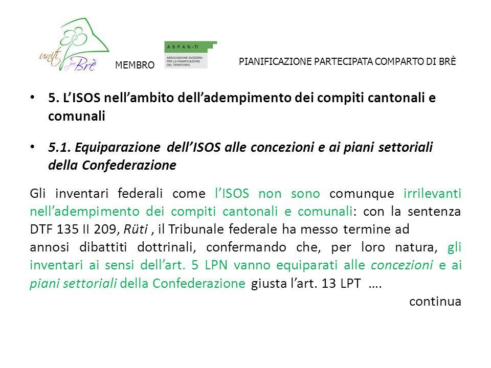 5. LISOS nellambito delladempimento dei compiti cantonali e comunali 5.1.