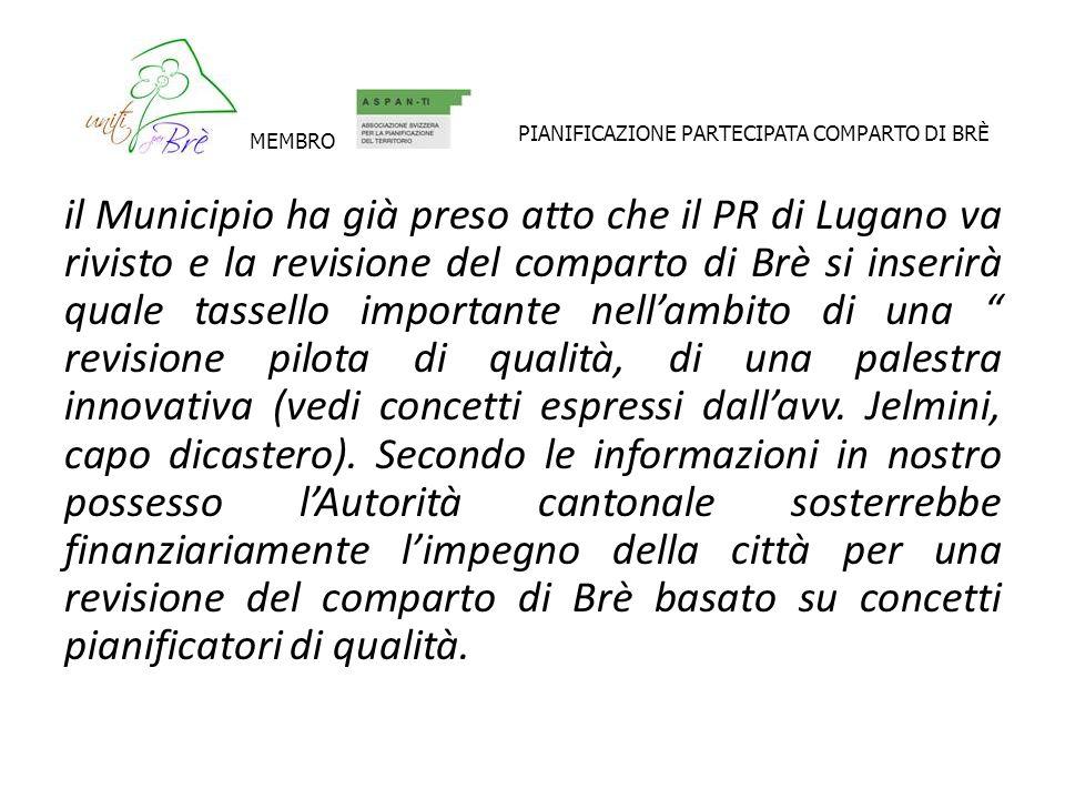 il Municipio ha già preso atto che il PR di Lugano va rivisto e la revisione del comparto di Brè si inserirà quale tassello importante nellambito di u