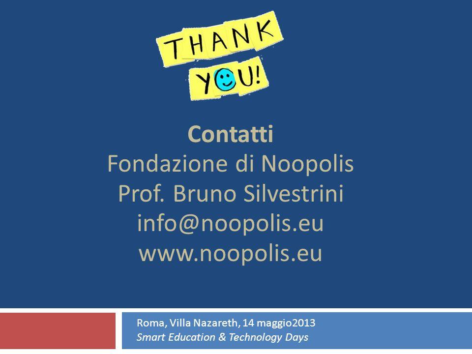 Contatti Fondazione di Noopolis Prof. Bruno Silvestrini info@noopolis.eu www.noopolis.eu Roma, Villa Nazareth, 14 maggio2013 Smart Education & Technol