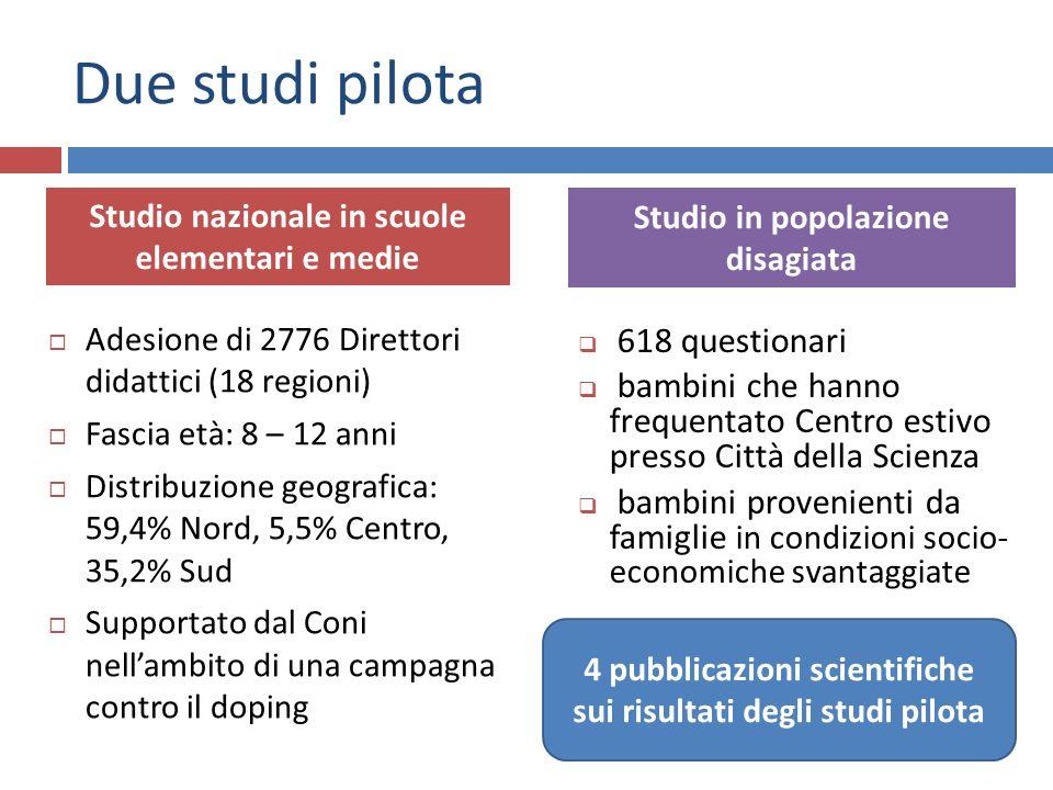 Due studi pilota Adesione di 2776 Direttori didattici (18 regioni) Fascia età: 8 – 12 anni Distribuzione geografica: 59,4% Nord, 5,5% Centro, 35,2% Su