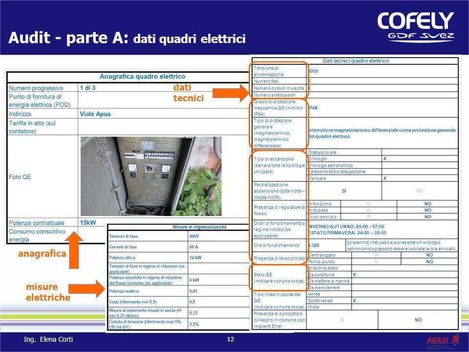 Audit - parte A: dati quadri elettrici anagrafica misure elettriche dati tecnici 12 Ing. Elena Corti