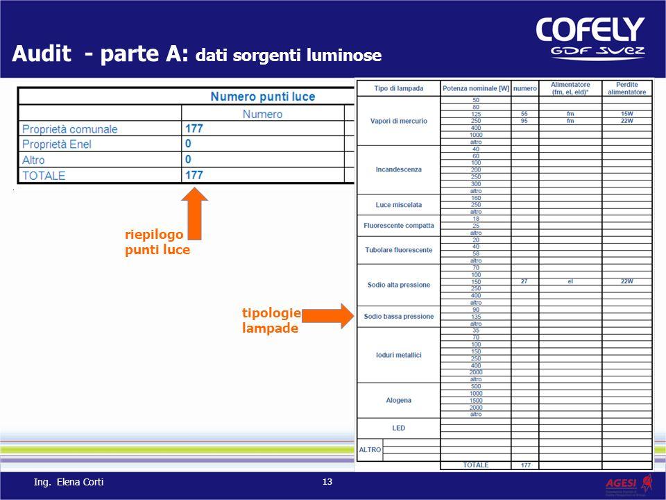 Audit - parte A: dati sorgenti luminose tipologie lampade riepilogo punti luce 13 Ing. Elena Corti
