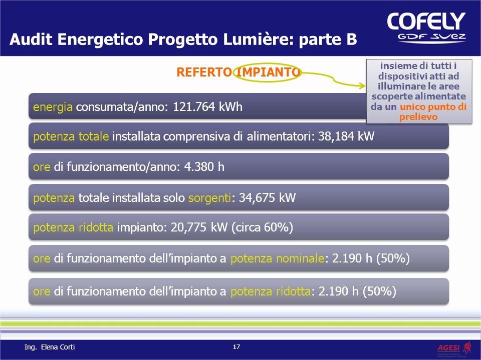 energia consumata/anno: 121.764 kWh potenza totale installata comprensiva di alimentatori: 38,184 kWore di funzionamento/anno: 4.380 hpotenza totale i
