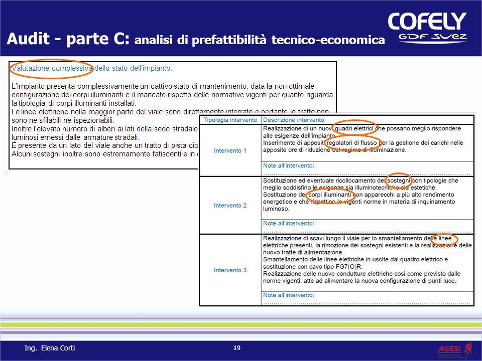 Audit - parte C: analisi di prefattibilità tecnico-economica 19 Ing. Elena Corti