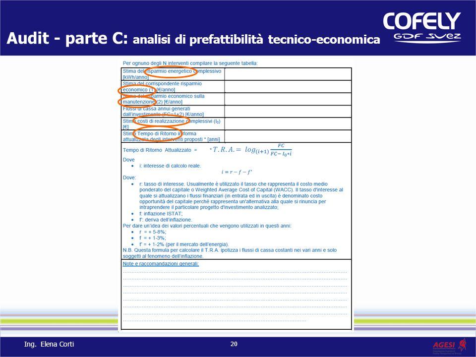 Audit - parte C: analisi di prefattibilità tecnico-economica 20 Ing. Elena Corti